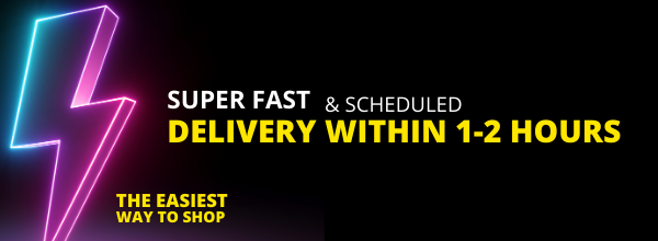 Lightning Banner - Lightning Deliveries are Scheduled Deliveries within 2 hours or at a time that's convenient to you
