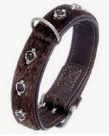 image of Karlie Collar In Leather Tibet Deco Brown 35mm 55cm