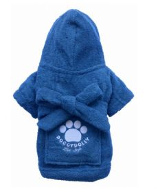 image of Doggydolly Bathrobe For Dogs Blue Small